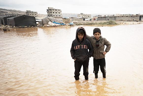 Flüchtlingslager unter Wasser